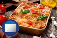 co map icon and an Italian restaurant entree