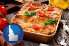 id map icon and an Italian restaurant entree