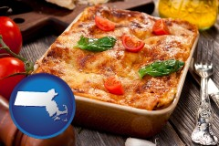 ma map icon and an Italian restaurant entree