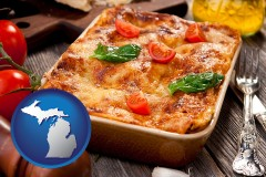 mi map icon and an Italian restaurant entree