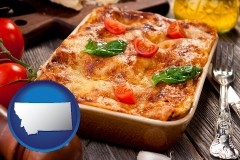mt map icon and an Italian restaurant entree