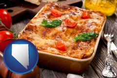 nv map icon and an Italian restaurant entree