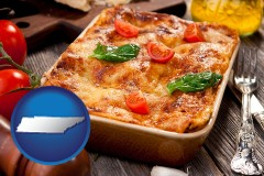 tn map icon and an Italian restaurant entree
