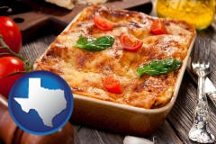 tx map icon and an Italian restaurant entree