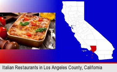 an Italian restaurant entree; Los Angeles County highlighted in red on a map
