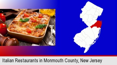 An Italian Restaurant Entree Monmouth County Highlighted In Red On A Map