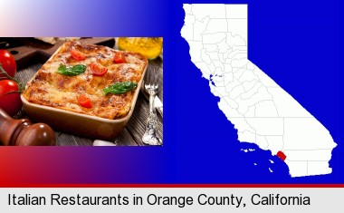 an Italian restaurant entree; Orange County highlighted in red on a map