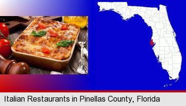 An Italian Restaurant Entree Pinellas County Highlighted In Red On A Map