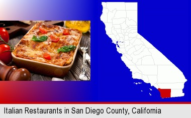 an Italian restaurant entree; San Diego County highlighted in red on a map